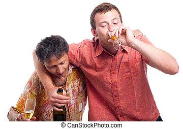 bêbedo, homens, bebendo, Álcool