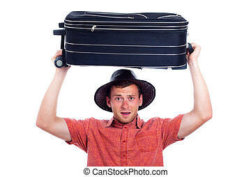 Excited traveller with luggage