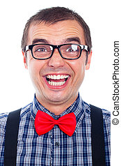 Funny nerd man laughing - Portrait of funny nerd man...