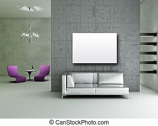 Living room - Modern interior 3D render - Living room