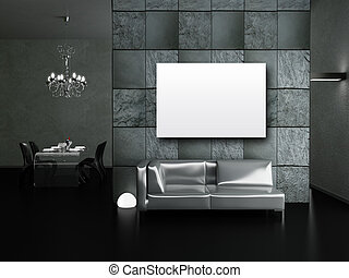 Living room - Modern interior (3D render) - Living room