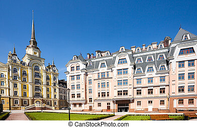 Old architecture in Kiev, Ukraine, Europe - New houses in...
