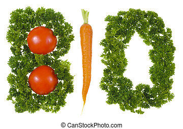 bio vegetables - parsley and vegetables form the word bio...
