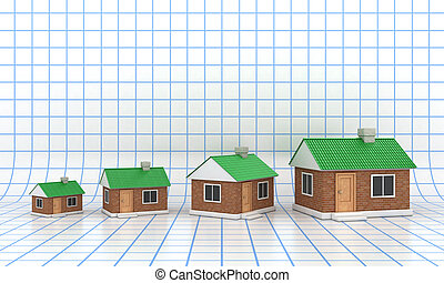 The houses - The small houses with a green roof on grid...