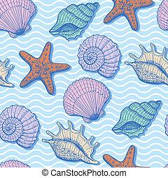 Sea hand drawn seamless pattern - Sea seamless pattern....