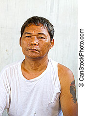 old asian man homeless and no work.