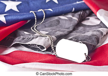 US Veteran Memorial - An blank army veteran dogtag and...