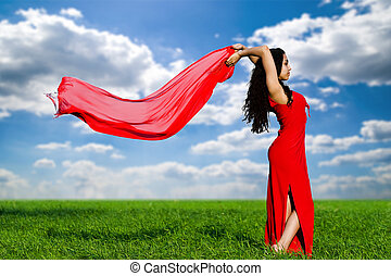 girl in a red dress and with a red shawl - The girl in a red...