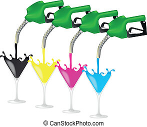 petrol pump cmyk - illustration of green petrol pump with...