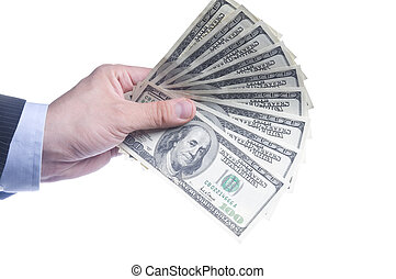 Mans Hand With a Fan Of Dollars Isolated Over White
