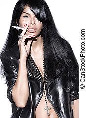 Fashion Model smokes - Bikini Fashion Model smokes. Isolated...