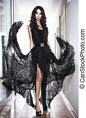 luxury woman in black dress