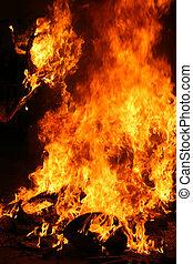 Burning Falla in Valencia. Fire.