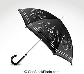 Ornamental black umbrella. Vector