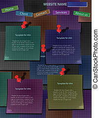 Web site design template on dark colorful sheets of paper