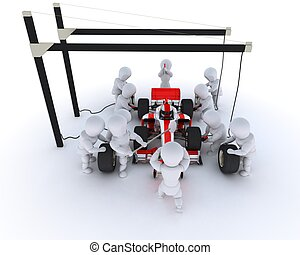 Race car pit stop - 3D Render of a Race car pit stop