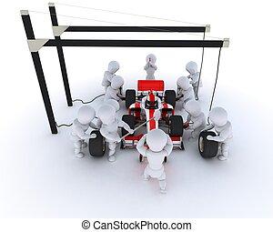Race car pit stop