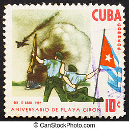 Postage stamp Cuba 1962 Bay of Pigs Invasion - CUBA - CIRCA...