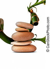 theraphy spa stones with bamboo