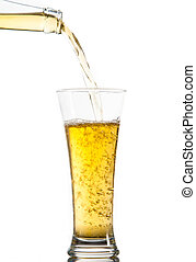 Glass of beer being poured from a bottle against a white...