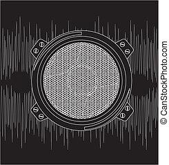 Speaker - speaker with sound over black background vector
