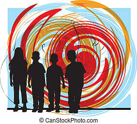 Friends illustration - Abstract drawing of little kids made...