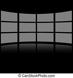 Grey screens placed in lines