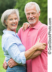 Senior couple in love - Happy and smiling senior couple in...