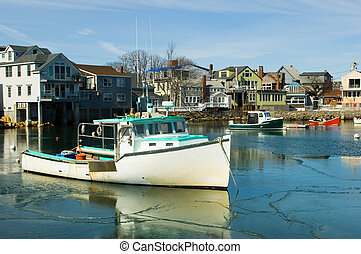 Rockport, MA - Boats in fishermen village of Rockport on...
