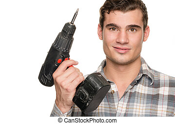 Man with drill machine - Smiling young man with drill...