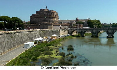 Castle Saint Angel Tiber river, Rome Italy Time lapse video...