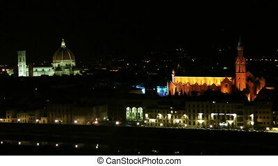 Night Florence - Historical center of Florence Italy Europe...