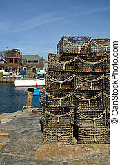 Rockport, MA - Lobster traps in fishing village of Rockport,...