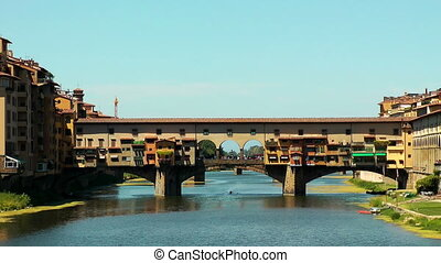 Ponte Vecchio in Florence on Arno river. Italy. Europe.