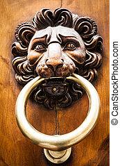 Lion Head Door Knocker - Lion head knocker on an old wooden...