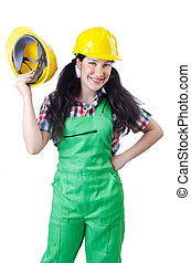 Woman worker on white