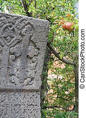 cross stone tree and pomegranate - ancient Armenian cross...