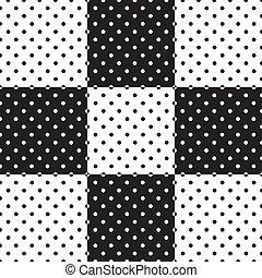 Seamless Tiles, Black and White - Polka dot seamless...
