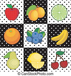 Fruit Tiles - Decorative fruits in polka dot design: apple,...