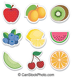 Fruit Stickers in Polka Dots - Nine fresh fruit stickers in...