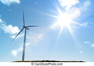 Wind turbine and bright sunlight