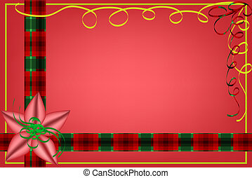 Christmas plaid background with bow - Red Christmas...