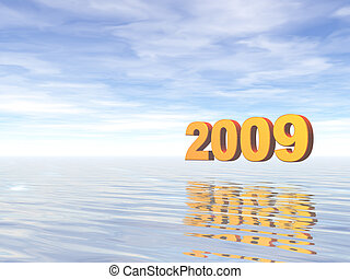 year 2009 - golden 2009 text in water landscape - 3d...
