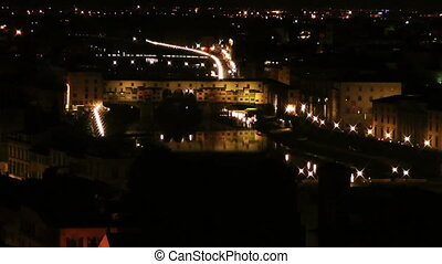 Night Florence - Historical center of Florence. Italy....
