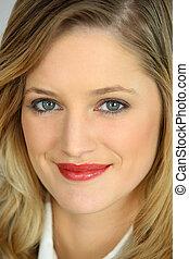 Close-up portrait of blond