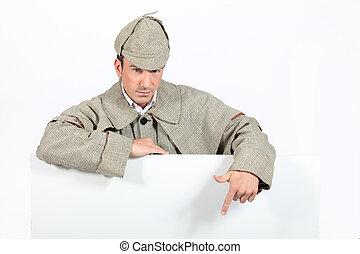 a detective showing a copyspace