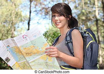 Teenage girl orienteering