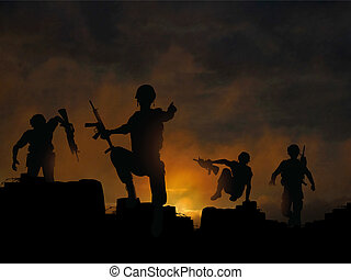 Dawn offensive - Dramatic vector illustration of soldiers...