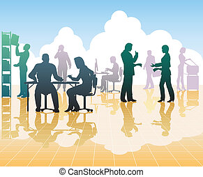 Office people - Editable vector silhouettes of people in a...
