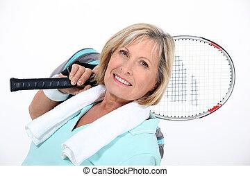mulher, tênis, Raquete